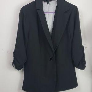 Torrid jacket blazer ruched sleeves black sz 1/1X